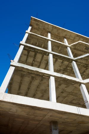 reinforced: Reinforced concrete slabs of a residential building under construction.