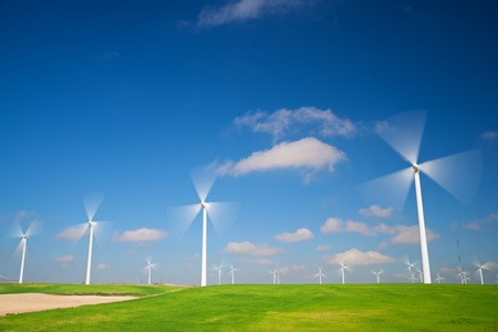 electrical: Windmills for electric power production, Zaragoza province, Aragon, Spain. Stock Photo