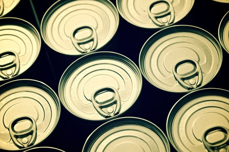 food can: Closeup of a group of aluminium cans.