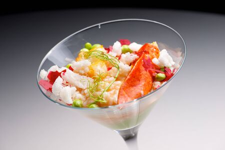 goblet: Rice with lobster served in a crystal goblet. Stock Photo