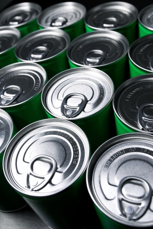 food storage: Closeup of a group of aluminium cans.