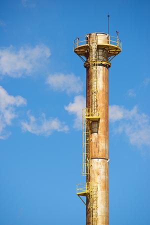 smokestack: Smokestack in a paper mill, Zaragoza Province, Spain.