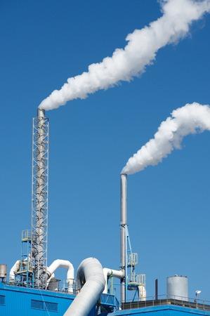 smokestacks: Smokestacks in a paper mill, Zaragoza Province, Spain.