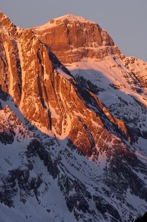 ordesa: Winter in Ordesa National Park, Cilindro de Marbore Peak (3325 m.), Pyrenees, Huesca, Aragon, Spain.