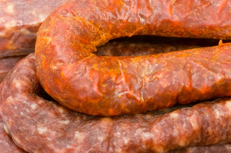 forefront: forefront of a diverse group of typical  Spanish sausage Stock Photo