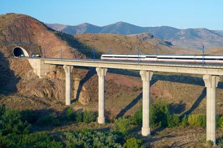 tren: vista de un tren de alta velocidad cruzando un viaducto en Purroy, Zaragoza, Aragón, España. AVE Madrid Barcelona.