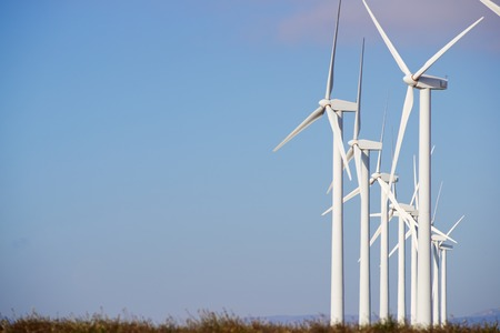 windturbines: Windmills for electric power production, Pozuelo de Aragon, Zaragoza, Aragon, Spain. Stock Photo