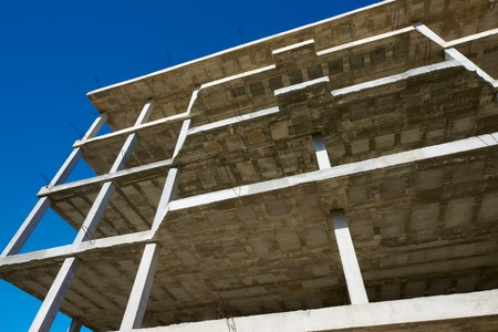 slabs: Reinforced concrete slabs of a residential building under construction.