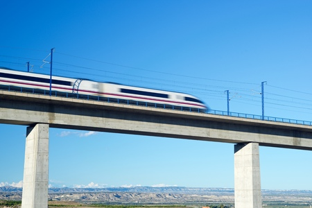 ave: view of a high-speed train crossing a viaduct in Roden, Zaragoza, Aragon, Spain. AVE Madrid Barcelona. Stock Photo