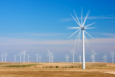 power production: Windmills for electric power production, Zaragoza province, Aragon, Spain Stock Photo