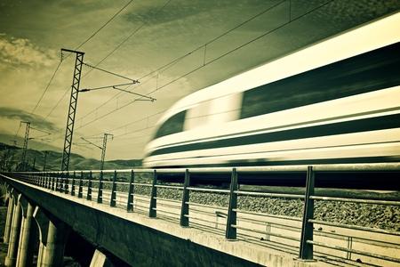 ave: view of a high-speed train crossing a viaduct in Arandiga, Zaragoza, Aragon, Spain. AVE Madrid Barcelona. Stock Photo