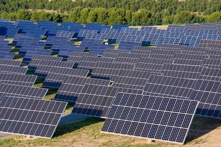 spain: Photovoltaic panels for renewable electric production, Navarra, Aragon, Spain.