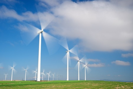 windfarms: Windmills for electric power production, Zaragoza province, Aragon, Spain. Stock Photo