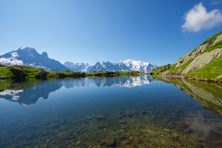 blanch: Mont Blanc reflected in Cheserys Lake, Mont Blanc Massif, Alps, France. Stock Photo