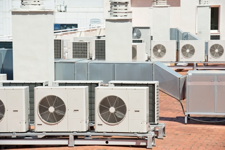complex system: view on the roof of a building of a large air conditioning equipment