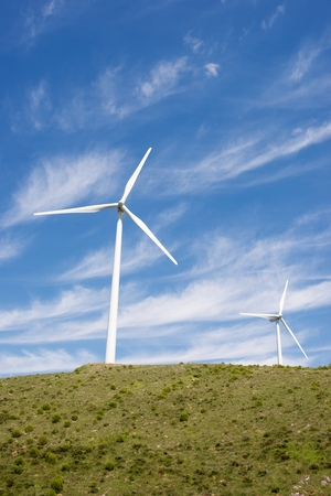 power production: Windmills for electric power production, Burgos Province, Castilla Leon, Spain.