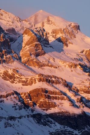 perdido: Winter in Ordesa National Park, Monte Perdido Peak (3355 m.), Pyrenees, Huesca, Aragon, Spain.