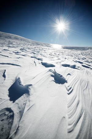 abrupt: Snowy landscape in Pyrenees, Aragon, Spain. Stock Photo
