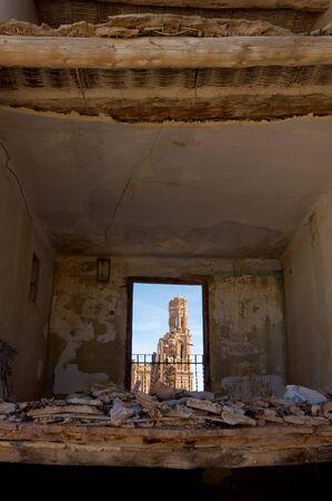 bombing: Tower in Belchite, Belchite village was destroyed in a bombing during the Spanish Civil War, Saragossa, Aragon, Spain