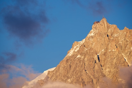 aiguille: View of the northern slopes of the Aiguille du Midi, Chamonix, Alps, France.