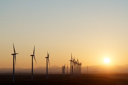 aligned: aligned windmills for renowable electric production at sunset, Pozuelo de Aragon, Zaragoza, Aragon, Spain