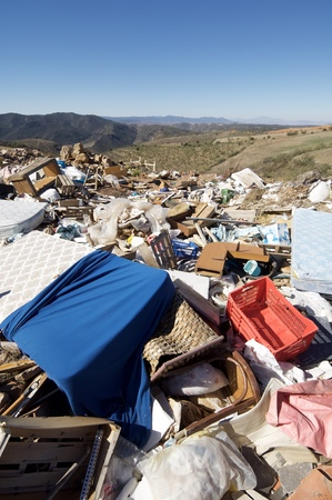 trashy: view of a landfill in a nature place