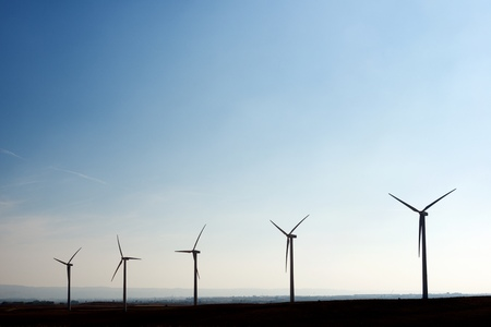 windturbines: Windmills for electric power production, Zaragoza, Aragon, Spain. Stock Photo