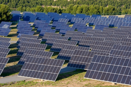 solar power plant: Photovoltaic panels for renewable electric production, Navarra, Aragon, Spain.