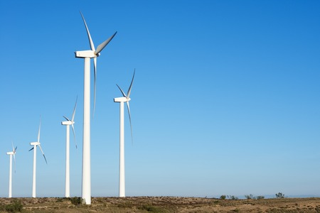 windturbines: Windmills for electric power production, Zaragoza Province, Aragon, Spain. Stock Photo