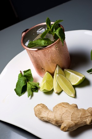 mule: Moscow mule, also known as Vodka buck, and ingredients.
