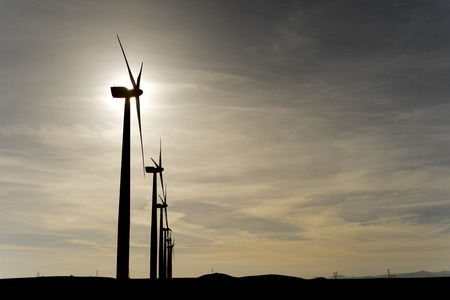 windturbines: Windmills for electric power production at sunset, Zaragoza Province, Aragon, Spain