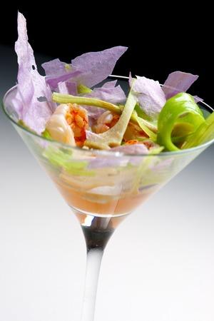 goblet: Prawn cocktail served in a crystal goblet. Stock Photo