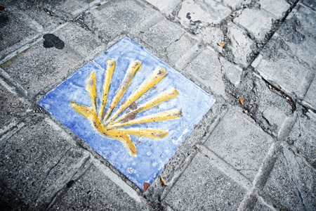 pilgrim journey: Santiago shell close up in Jaca, Huesca, Aragon, Spain. Stock Photo