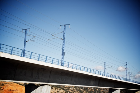 highspeed: view of a high-speed viaduct in Sagides, Soria, Castilla Leon, Spain. AVE Madrid Barcelona.