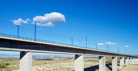 highspeed: view of a high-speed viaduct in Roden, Zaragoza, Aragon, Spain. AVE Madrid Barcelona.