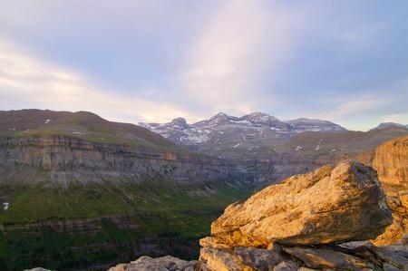 massif: View of Ordesa valley and Monte Perdido massif, Pyrenees, Spain.