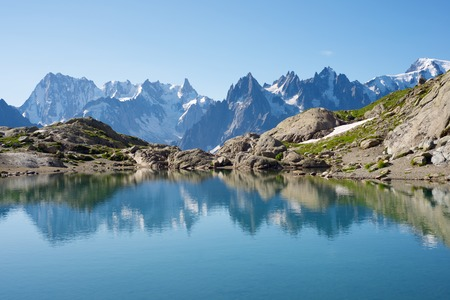 blanc: Mont Blanc Mountains reflected in Lac Blanc, Mont Blanc Massif, Alps, France