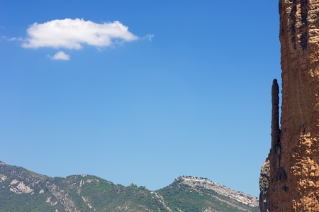 huesca: Puro and Pison hills in Riglos, Huesca, Spain. Stock Photo