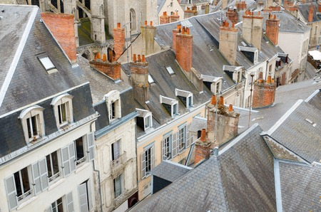 forefront: forefront of roofs in the old city of Blois, Loire Valley, France