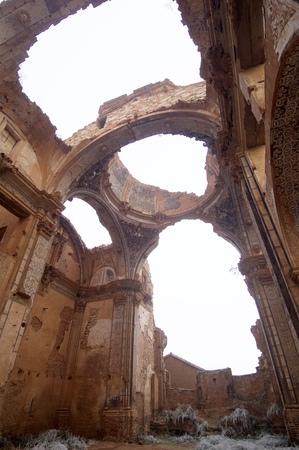 spanish civil war: Belchite village destroyed in a bombing during the Spanish Civil War, Saragossa, Aragon, Spain.