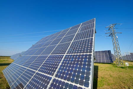 clean energy: Photovoltaic panels for renewable electric production, Navarra, Aragon, Spain.