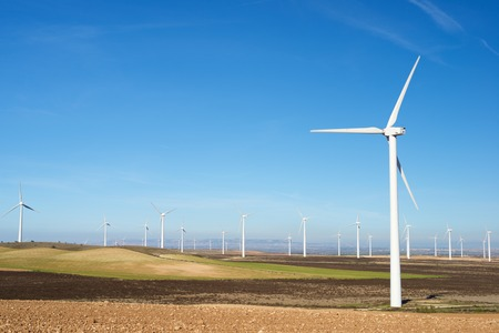 green energy: Windmills for electric power production, Zaragoza Province, Aragon, Spain. Stock Photo