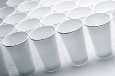 throwaway: Large group of disposable plastic cups.