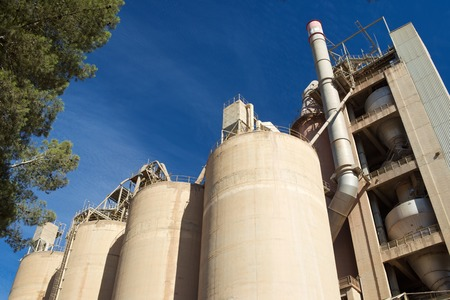 Working Environment: Exterior view of a cement factory, Morata de Jalon, Zaragoza province, Aragon, Spain. Stock Photo