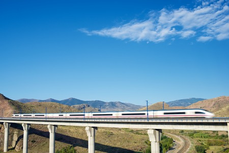 ave: view of a high-speed train crossing a viaduct in Purroy, Zaragoza, Aragon, Spain. AVE Madrid Barcelona. Stock Photo