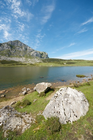 europa: view of  the lakes of Covadonga, National Park Picos de Europa, Asturias, Spain Stock Photo