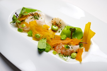 scallops: Salad with scallops and shrimp. Stock Photo