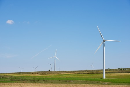 windturbines: Windmills for electric power production, Burgos Province, Castilla Leon, Spain.