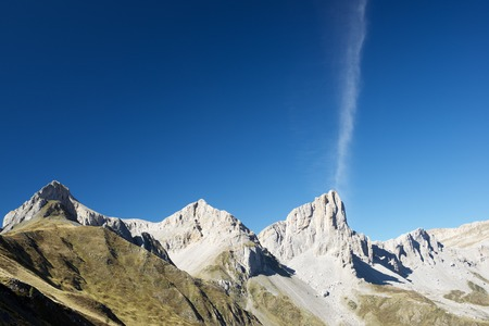pinnacle: Aiguilles du Ansabere in Lescun Cirque. Aspe Valley, Pyrenees, France. Stock Photo
