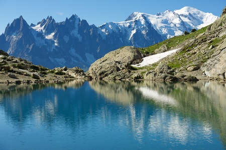 blanch: Mont Blanc reflected in Lac Blanc, Mont Blanc Massif, Alps, France